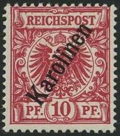 KAROLINEN 3IIc *, 1900, 10 Pf. Dunkelrosa Steiler Aufdruck, Falzrest, Pracht, Fotobefund Jäschke-L., Mi. 260.- - Kolonie: Karolinen