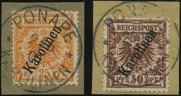 KAROLINEN 5a,6II BrfStk, 1900, 25 Und 50 Pf. Steiler Aufdruck, 2 Prachtbriefstücke, Gepr. W. Engel, Mi. (140.-) - Kolonie: Karolinen