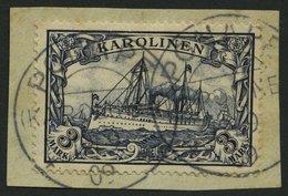 KAROLINEN 18 BrfStk, 1900, 3 M. Violettschwarz Auf Briefstück (zur Kontrolle Gelöst), üblich Gezähnt Pracht, Signiert, M - Kolonie: Karolinen