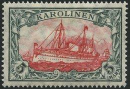 KAROLINEN 22IA *, 1915, 5 M. Grünschwarz/dunkelkarmin, Mit Wz., Friedensdruck, Falzrest, Pracht, Gepr. Jäschke-L., Mi. 2 - Kolonie: Karolinen
