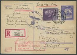 GENERALGOUVERNEMENT Brief , 1943, Einschreib-Ganzsachenkarte Von JASLO über Portugisische Deckadresse An Polish Naval He - Occupation 1938-45