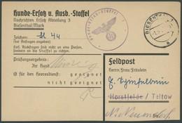 FELDPOST II. WK BELEGE 1943, Hundemusterungsbefehl Der Hunde-Ersatz-Staffel Aus BIESENTHAL, Pracht, R! - Occupation 1938-45