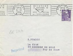 BESANCON RP RBV 1954 DREYFUSS (BES146) 1994 Cote 100F SALON INTERNATIONAL DE L'HORLOGERIE Temps Pendule - Marcophilie (Lettres)