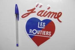 """Autocollant Stickers Transports ROUTIER Camion Poids Lourds """"J'aime LES ROUTIERS"""" CŒUR - Autocollants"""