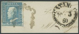 SIZILIEN 3a BrfStk, 1859, 2 Gr. Hellblau Auf Prachtbriefstück Aus CATANIA - Sicily