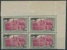 MONACO 137 VB **, 1933, 1.50 Fr. Auf 50 Gr. Blaugrün/rosa Im Viererblock, Postfrisch, Pracht, Mi. (220.-) - Monaco