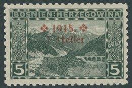 BOSNIEN UND HERZEGOWINA 91B **, 1915, 7 H. Auf 5 H. Dunkelgrün, Gezähnt L 91/4, Postfrisch, Pracht, Mi. 680.- - Bosnien-Herzegowina