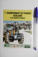 """Autocollant Stickers TRACTEUR """"1er Championnat De France Scolaire"""" Conduite Rurale Avec KLEBER Et RENAULT AGRICULTURE - Autocollants"""