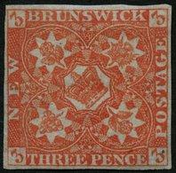 KANADA - NEUBRAUNSCHWEIG 1 *, 1851, 3 P. Rot, Falzrest, Vollrandiges Farbfrisches Prachtstück, Mi. 2800.- - New Brunswick