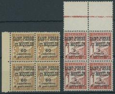 ST. PIERRE UND MIQUELON P 19/20 VB **, 1925, 60 C. Auf 50 C. Gelbbraun Und 2 Fr. Auf 1 Fr. Zinnober In Randviererblocks, - Ungebraucht