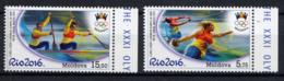 MOLDAVIE MOLDOVA 2016, Lancer Du Disque Et Poids, Canoë-kayak, 2 Valeurs, Neufs / Mint. R1932Rio - Summer 2016: Rio De Janeiro