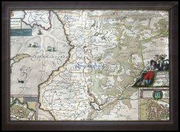 Dithmarschen, Südlicher Teil, Dithmarsiae Pars Australis, Mit Grundrißplänen Von Brunsbüttel Und Meldorf, Kolorierter Ku - Mappe