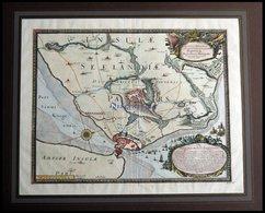 Kopenhagen, Grundrißplan Der Stadt Und Umliegende Gegend - Sehr Dekorative Ansicht, Anno 1658, Kolorierter Kupferstich V - Mappe