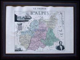 Departement Basses Alpes Mit Teilansicht Der Hauptstadt Digne Und Hübscher Tierstaffage, Farbiger Stahlstich Von M. Vuil - Mappe