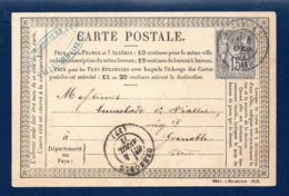 38. Allevard. C.P.Type 1873  N°. 26 ( 2242-Sept. 1876). Timbre Sage 15 C Gris (77). Allevard-Grenoble 4 Avril 1877 - Allevard
