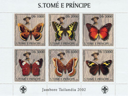 S. TOME & PRINCIPE 2003 - Butterflies & Scouts 6v - Sao Tomé Y Príncipe