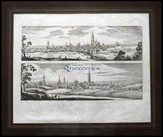 LIMOGES Und SENLIS, 2 Gesamtansichten Auf Einem Blatt, Kupferstich Von Merian Um 1645 - Lithographies