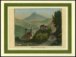 MURBACH, Gesamtansicht, Kolorierter Holzstich Aus Malte-Brun Um 1880 - Lithographies