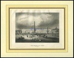 PARIS: Der Obelisk Von Luxor, Mit Hübscher Personenstaffage Im Vordergrund, Stahlstich Von B.I. Um 1840 - Lithographies