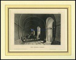 Der THEMSE-TUNNEL, Stahlstich Von B.I. Um 1840 - Lithographies