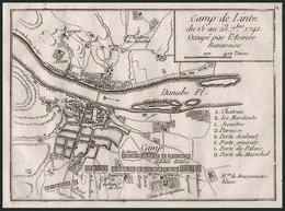 LINZ: Plan Der Stadt Während Des Feldlagers 1741, Kupferstich Von 1760 - Lithographies
