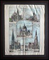 WIEN: Die Neuen Kirchen, 5 Ansichten A.einem Blatt, Kolorierter Holzstich Von Petrovits Um 1880 - Lithographies