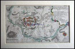 ZORNDORF, Schlacht Vom 25.8.1758 Mit Umgebung, Altkolorierter Kupferstich Von Ben Jochai Bei Raspische Buchhandlung 1760 - Lithographies