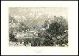 BELLINZONA, Teilansicht, Stahlstich Von Bartlett/Smith, 1836 - Lithographies