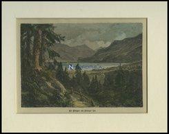 BÖNIGEN Auf BRIENZER SEE, Gesamtansicht, Kolorierter Holzstich Um 1880 - Lithographies