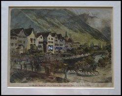CHUR: Teilansicht Vom Hotel Steinbock Aus, Kolorierter Holzstich Um 1880 - Lithographies