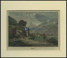 FLÜELEN, Gesamtansicht, Kolorierter Holzstich Um 1880 - Lithographies