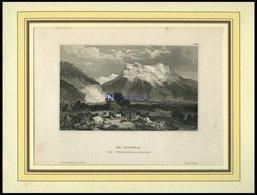 Die JUNGFRAU Von Gindelwald Aus Gesehen, Stahlstich Von B.I. Um 1840 - Lithographies