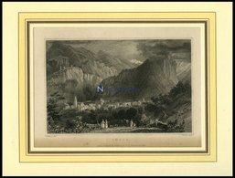 THUSIS, Gesamtansicht, Stahlstich Von Tombleson/Smith Um 1840 - Lithographies