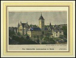 ZÜRICH: Das Landesmuseum, Kolorierter Holzstich Von 1898 - Lithographies