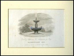 PRAG: Das Erz Baßin Im K. Schloßgarten, Stahlstich Von 1840 - Lithographies