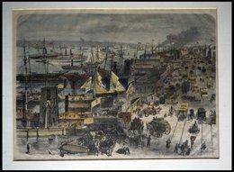 USA: New York, Der Hafen Mit Docks An Der West-Side Mit Schöner Fuhrwerks -und Personenstaffage, Kolorierter Holzstich U - Lithographies