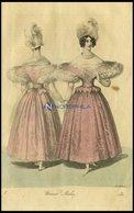 Wiener-Moden - Kleid Von Rosa Satin Chiné - Dazu Ein Atlas-Barret - (Vorder-und Rückenansicht) Vom Damenkleidermacher J. - Lithographies