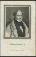 Chateaubriand, Stahlstich Von B.I. Um 1840 - Lithographies