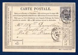 38. Grenoble. C.P.Type 1873  N°. 26 ( 2242-Sept. 1876). Timbre Sage 15 C Gris (77). Grenoble 8 Mars 1877 - Grenoble