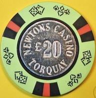 £20 Casino Chip. Newtons, Torquay, UK. Q06. - Casino