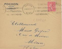 CAMBRAI KRAG 1928 DREYFUSS (CAM301) 1994 Cote 100F CAMBRAI SES LINONS SES BATISTES SES MOUCHOIRS DEVANT SEUL - Marcophilie (Lettres)