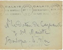 CALAIS KRAG 1938 DREYFUSS (CAL107) 1994 NON COTE EN PORT PAYE Clé De La France Plage Idéale Dentelles DEVANT SEUL - Storia Postale