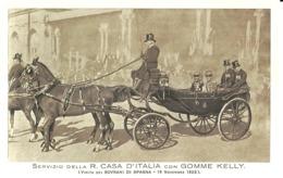 """5458 """"SERVIZIO DELLA R. CASA D'ITALIA CON GOMME KELLY(VISITA DEI SOVRANI DI SPAGNA-19/11/1923""""-CART. POST. OR. NON SPED. - Familles Royales"""