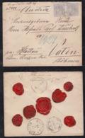 Spain 1881 Cover 2x25c Pair COMILLAS To KLATTAU KLAOVY Austria AMBULANTE Santander Railway Postmark - 1875-1882 Reino: Alfonso XII