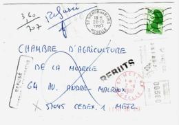 SIERCK Les BAINS Moselle Lettre 1,90F Liberté Vert Yv 2424 Dest Metz Taxe EMA 3,60F Refusé Retour Envoyeur REBUT Ob 1987 - Postage Due
