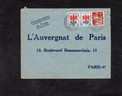 LSC 1959 - Cachet Perlé  SEBAZAC CONCOURES   (Aveyron) Sur YT 115 & YT 1184 / Enveloppe L'Auvergnat De Paris - Marcophilie (Lettres)