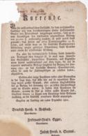 AUSTRIA  --  KLAGENFURT  --  ?URRENDE  --  1800  --  OLD DOCUMENT - Documents Historiques