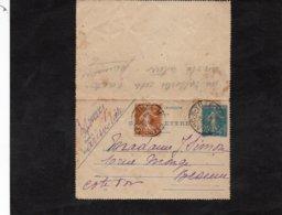 1928 - Cachet ARC Sur TILLE (Côte D'OR) Sur Entier Postal Semeuse 25c Bleu ET Semeuse 25c En Complement - Entiers Postaux