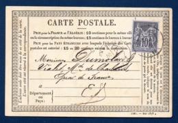 38.Grenoble. C.P.Type 1873  N°. 37 (1221-Mai 1878). Timbre Sage 10 C Noir (89). Grenoble 27 Octobre 1878 - Grenoble