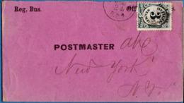 USA 1873 3c Post Office Dept On Reg.Bus. Letter To Postmaster New York, Back Cancel NY Dec 24  - 1910.0614 - 1847-99 Emissions Générales